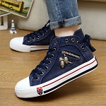 Ladies Womens Side Zip Denim Front and Back Tie Lace Up Tennis Shoes Sneakers